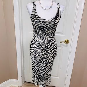 Cache VTG  Silk Zebra Print B&W Cocktail Dress